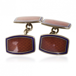Harrods Murray Ward Silver Hand Enameled Cufflinks