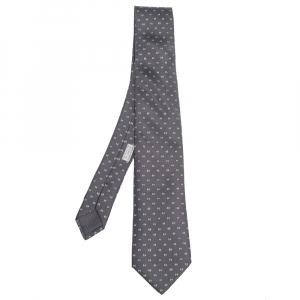 Hermes Grey H Tonneau Print Silk Tie