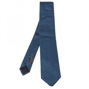 Hermes Marine Blue H Pearl Pattern Heavy Silk Tie