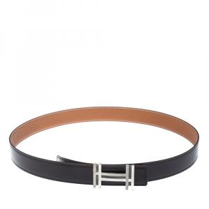 Hermes Noir/Gold Togo Leather Palladium Plated H Au Carre Buckle Reversible Belt 100CM
