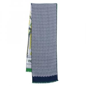 Hermès Blue & Green Imprimeur Fou H Coaching Cashmere Silk Muffler