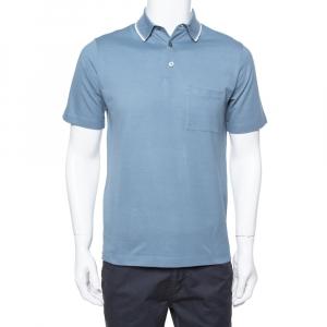 Hermes Blue Gray Cotton Pique Short Sleeve Polo T-Shirt S