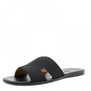 Hermes Black Leather Izmir Sandals Size 42.5