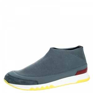 Hermes Grey Knit Stretch Slip On Sneakers Size 42.5