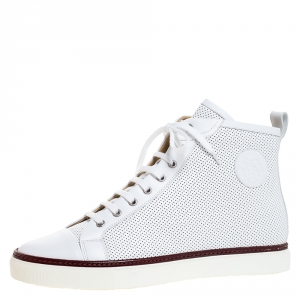 Hermes White Perforated Leather Jimmy High Top Sneakers Size 43