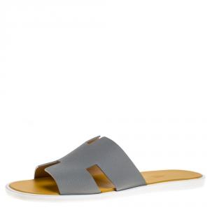 Hermes Grey/Yellow Leather Izmir Flat Slides Size 42