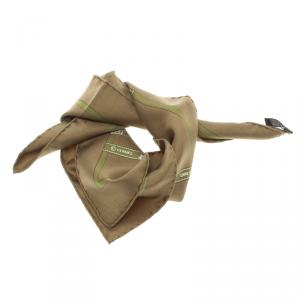 Hermes Military Green Silk Signature Logo Ribbons Print Bolduc Pocket Square