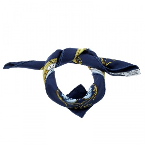 Hermes Navy Blue Printed Silk Dies et Hore Pocket Square