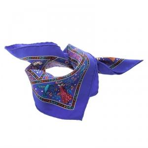 Hermes Blue Peuple Du Vent Printed Silk Pocket Square