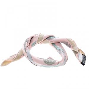 Hermes Rose Pink Merveilleuses Lanternes Printed Silk Pocket Square