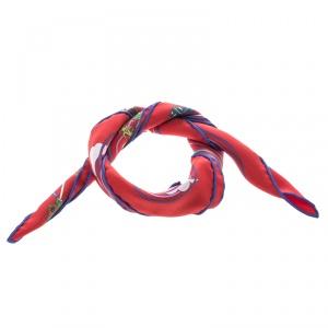 Hermes La Maison Des Carres Red Printed Silk Pocket Square