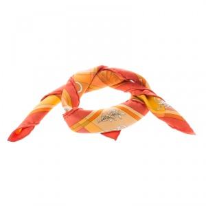 Hermes Della Cavalleria Orange Printed Silk Pocket Square