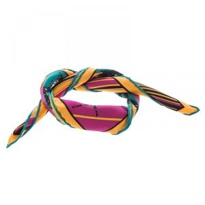 Hermes Multicolor Striped Equestrian Horse Race Print Silk Pocket Square