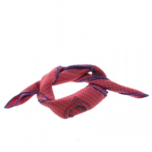 Hermes Red and Blue Mors De Selle Printed Polka Dotted Silk Pocket Square