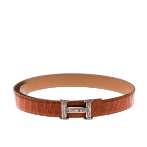 Hermes Orange Crocodile and Swift Leather Constance 2 Guillochee Finish H Buckle Belt 85CM