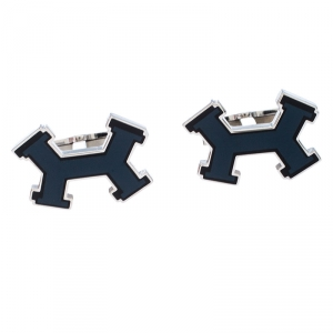 Hermes Dark Blue Street H Lacquered Palladium Plated Cufflinks