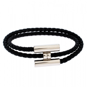 Hermès Tournis Tresse Black Leather Palladium Plated Bracelet