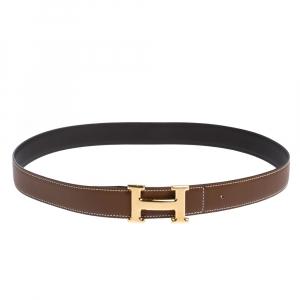 Hermes Marron d'Inde Epsom Leather Constance Reversible Belt 90CM