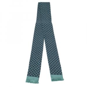 Hermes Navy & Teal Geometric Print Silk Fringed Ascot