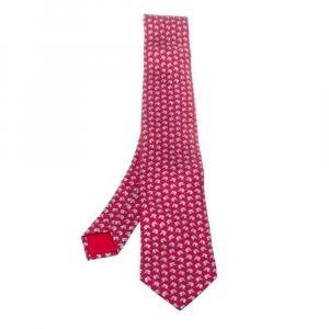 Hermes Red Horse Print Silk Tie