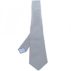 Hermes Blue Instantane Print Silk Tie