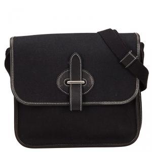 Hermes Black Canvas Mini Buenaventura Messenger Bag