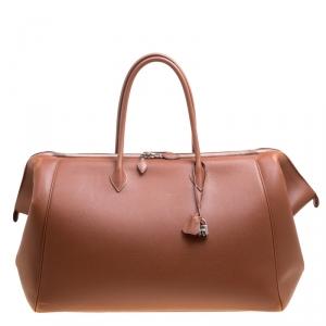 Hermes Brique Evergrain Leather Paris Bombay 50 Duffle Bag