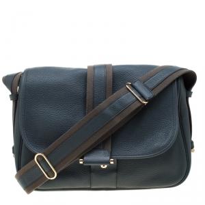 Hermes Blue Jean Togo leather Bourlingue Messenger Bag