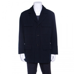 Hermes Commande Particuliere Navy Blue Wool Gabardine Button Front Coat XL