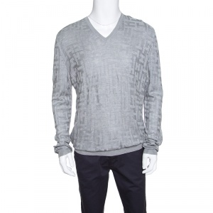 Hermes Grey H Pattern Silk Jacquard Knit V Neck Pullover XL