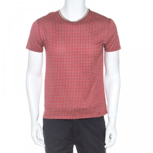 Hermes Red Monogram Print Cotton T-Shirt S