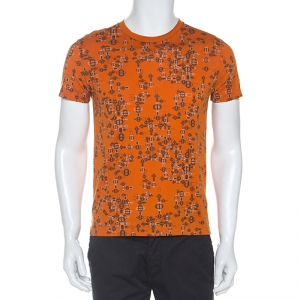 Hermes Orange Printed Cotton T-Shirt S