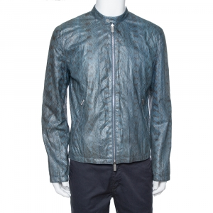 Hermès Blue Snakeskin Leather Reversible Jacket L