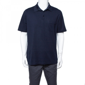 Hermes Navy Blue Cotton Pique Polo T Shirt XXL