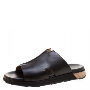 Hermes Black Leather Pharaon Flat Sandals Size 43