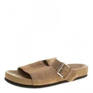 Hermes Beige Suede Slide Sandals Size 42