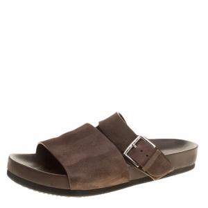 Hermes Brown Suede Flat Slide Sandals Size 42