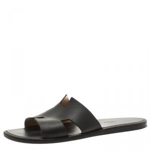 Hermes Black Leather Izmir Sandals Size 42.5
