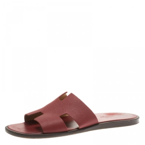 Hermes Brick Red Leather Izmir Sandals Size 42.5