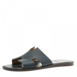 Hermes Dark Grey Leather Izmir Sandals Size 42