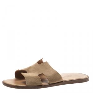 Hermes Light Brown Suede Izmir Sandals Size 42