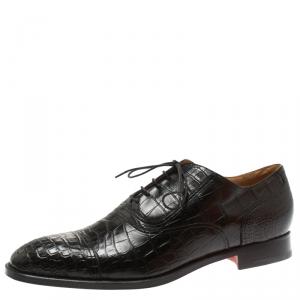 Hermes Black Alligator Leather Lace Up Oxfords Size 44