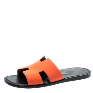 Hermes Neon Orange Fabric Izmir Sandals Size 42.5
