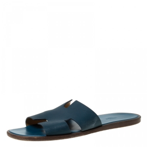 Hermes Blue Leather Izmir Slip On Slides Size 45