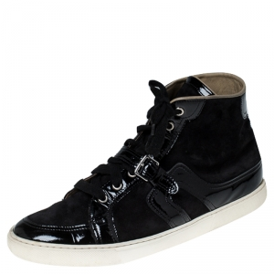 Hermes Black Suede and Patent Leather Quantum High Top Sneakers Size 41.5