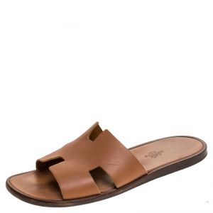 Hermes Brown Leather Izmir Flat Slides Size 42.5
