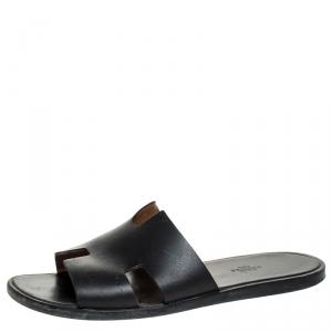 Hermes Black Leather Izmir Flat Slides Size 43