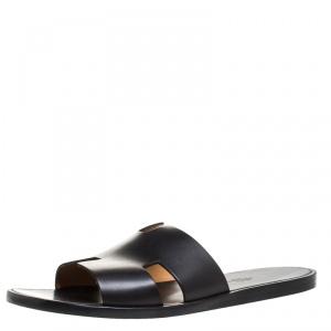 Hermes Black Leather Izmir Flat Slides Size 44.5