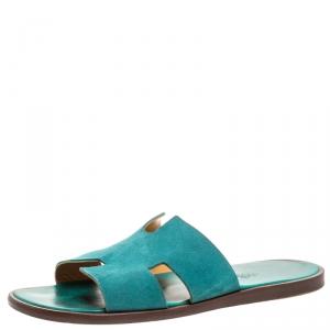 Hermes Green Suede Izmir Flat Slides Size 43