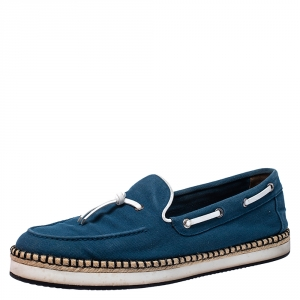 Hermes Teal/White Canvas And Leather Trim Optimiste Espadrille Moccasins Size 43